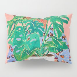 Adventure Stories for Introverts: Lethabo and the Delicious Monster, Woman with Indoor Plant Painting on Pink Pillow Sham