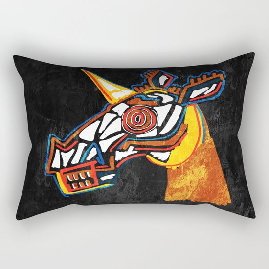 Basquiat Skull Unicorn Rectangular Pillow