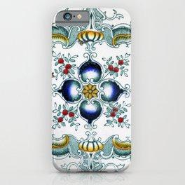 Beautifully Vintage Victorian Art Nouveau Majolica Tile Pattern iPhone Case