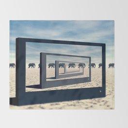 Surreal Elephant Desert Scene Throw Blanket