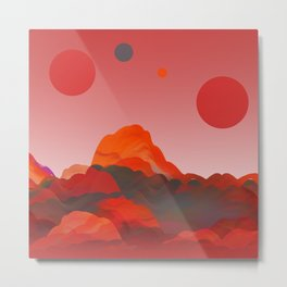 """Coral Pink Sci-Fi Mountains"" Metal Print"