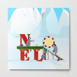 Penquin Chicks: Noel Preparation Metal Print