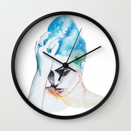 Watercolor Girl no. 3 Wall Clock