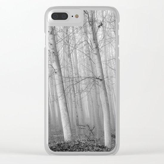 Foggy Poplars. BW Clear iPhone Case