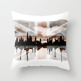 London Skyline 2 Tea Staines Throw Pillow