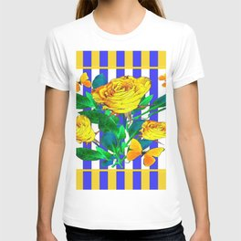 YELLOW SPRING ROSES & BUTTERFLIES WITH LILAC STRIPES T-shirt