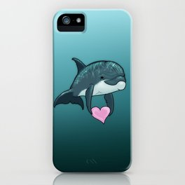 """Love Ya"" by Amber Marine ~ Toon Baby Dolphin Art, (Copyright 2014) iPhone Case"