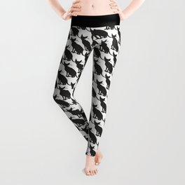 cats pattern black and white 3 Leggings