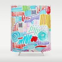 doodle Shower Curtains featuring DOODLE by austeja saffron