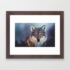 Wolf Double exposure Framed Art Print