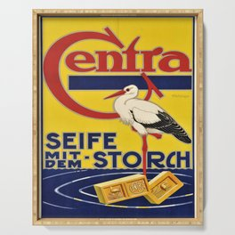 old placard centra seife mit dem storch Serving Tray