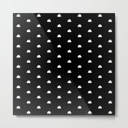 Black background with small white clouds pattern Metal Print