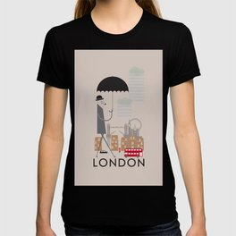 London - In the City - Retro Travel Poster Design T-shirt