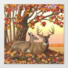 Hilltop Retreat Whitetail Deer Painting Canvas Print