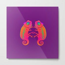 Chameleon. Two neon chameleon on a purple background. Metal Print