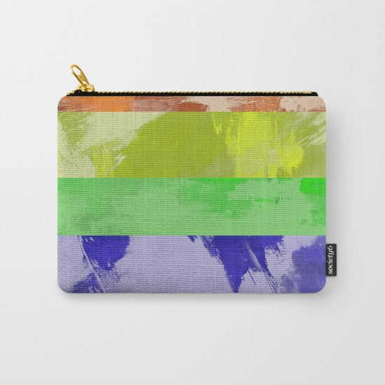 Rainbow Stripes - Abstract, textured, red, orange, yellow, green, blue, indigo, violet artwork Carry-All Pouch