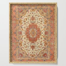 Persia Tabriz 19th Century Authentic Colorful Dusty Tan Red Blush Vintage Patterns Serving Tray