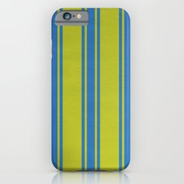 Blue lines on a yellow background iPhone Case