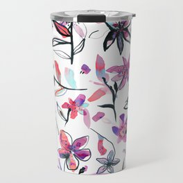 Ink flowers pattern - Viola Travel Mug