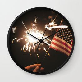 American Celebration on July 4th with Sparklers Flags and Fireworks Wall Clock