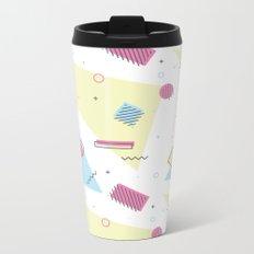 Retro Memphis Pattern Design Metal Travel Mug