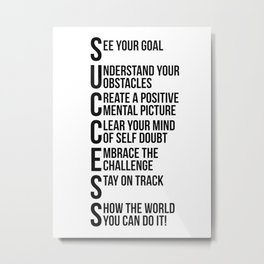 Success Quotes, Office Decor, Office Wall Art, Office Art, Office Gifts Metal Print