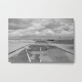 A wind on the pier - Scheveningen The Hague photo | Black and white monochrome beach nature windy storm clouds photography art print Metal Print