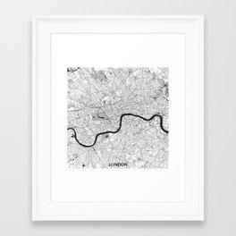 London Map Gray Framed Art Print