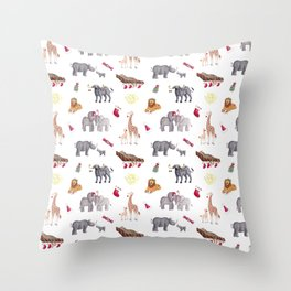 Watercolor Big 5 South African Christmas Throw Pillow