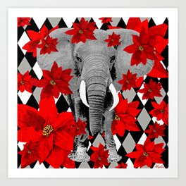 POINSETTIAS ELEPHANTS AND HARLEQUINS OH MY Art Print