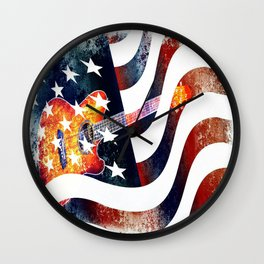 Country Music Guitar And American Flag By Annie Zeno  Wall Clock
