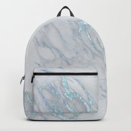 Marble Love Sea Blue Metallic Backpack