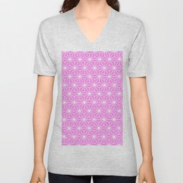 Girly Pink Geometric Flowers and Florals Isosceles Triangle Unisex V-Neck