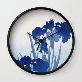 Japanese Iris Flower by  Ohara Koson Wall Clock
