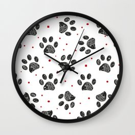 Doodle black paw prints with dots, square and stars Wall Clock