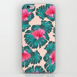 Artsy Tropical Green Teal Monster Leaves Pink Floral iPhone Skin