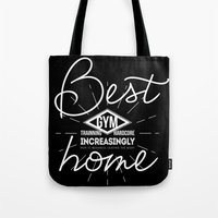 crossfit Tote Bags featuring GYM is my home by Maioriz Home