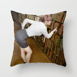 """Research"" - The Playful Pinup - Sexy Librarian Pin-up Girl by Maxwell H. Johnson Throw Pillow"