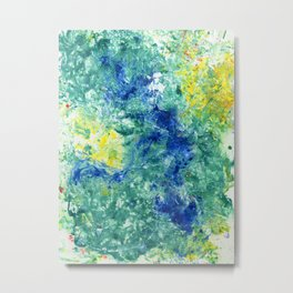 Spring Floral #8 - Blue, Emerald Green Abstract Print Metal Print