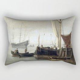 Willem van de Velde the Younger - Harbor view Rectangular Pillow