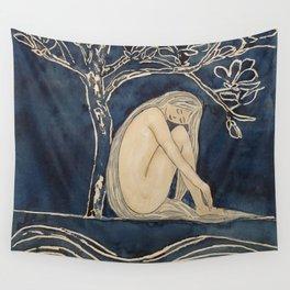 Girl sleeping under magnolia flowers Wall Tapestry