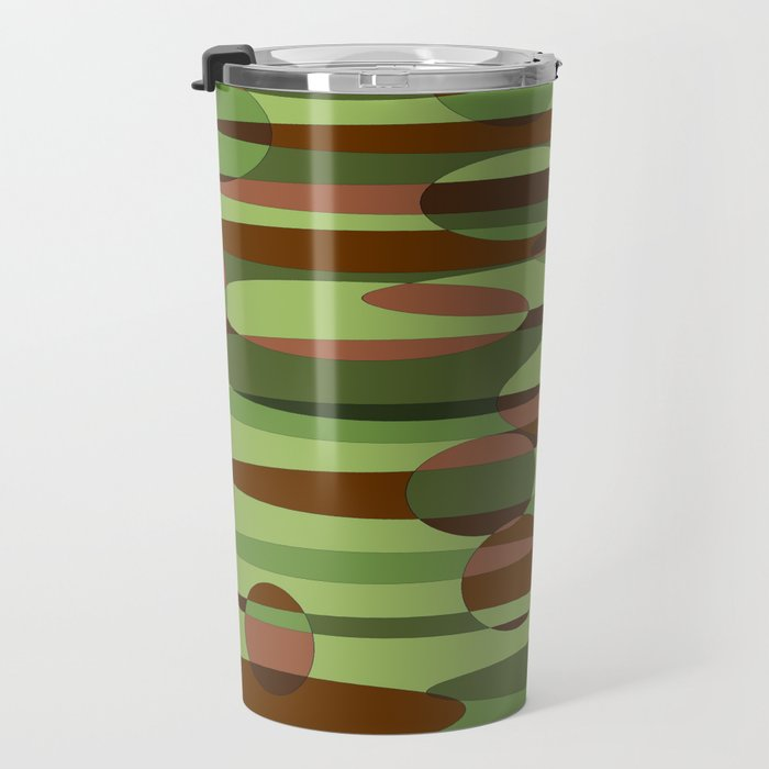 Trendy Green and Brown Camouflage Spheres Travel Mug