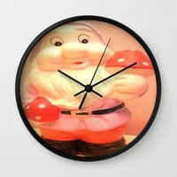 gnome Wall Clocks featuring Gnome  by Vintage  Cuteness