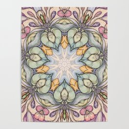 vintage flowers hand drawn and  kaleidoscope mandala Poster