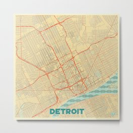 Detroit Map Retro Metal Print