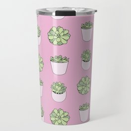 pink suculents in flowerpots Travel Mug