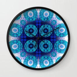 Bright Aqua Indigo Mandala Splash Wall Clock