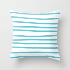 Simply Drawn Stripes in Seaside Blue Throw Pillow