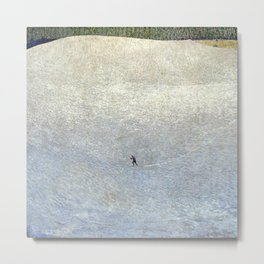 Plight of the Lonely Skier, Snowy Alpine Landscape by Cuno Amiet Metal Print