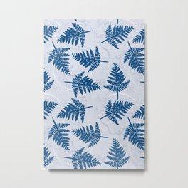 Fern leaves pattern light blue Metal Print